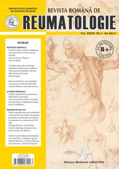Romanian Journal of Rheumatology, Volume XXIII, No. 1, 2014