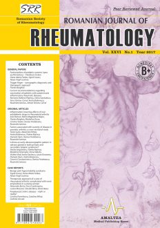 Romanian Journal of Rheumatology, Volume XXVI, No. 1, 2017