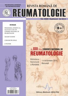 Romanian Journal of Rheumatology, Volume XXIII, Supl., 2014