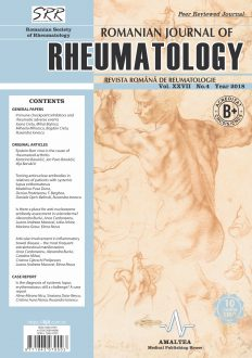Romanian Journal of Rheumatology, Volume XXVII, No. 4, 2018