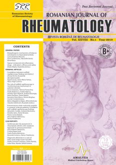 Romanian Journal of Rheumatology, Volume XXVIII, No. 1, 2019
