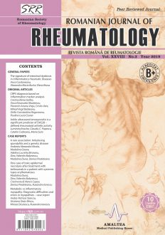Romanian Journal of Rheumatology, Volume XXVIII, No. 3, 2019