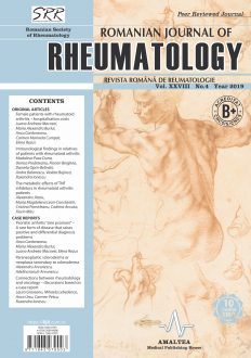 Romanian Journal of Rheumatology, Volume XXVIII, No. 4, 2019