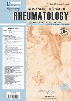 Romanian Journal of Rheumatology, Volume XXIX, No. 4, 2020