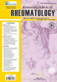 Romanian Journal of Rheumatology, Volume XXX, No. 1, 2021