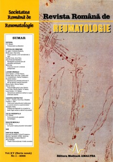 Romanian Journal of Rheumatology, Volume XV, No. 1, 2006
