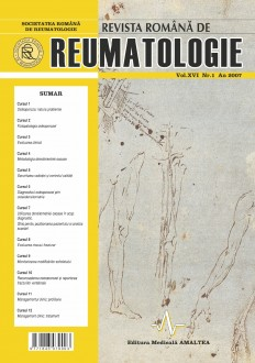 Romanian Journal of Rheumatology, Volume XVI, No. 1, 2007