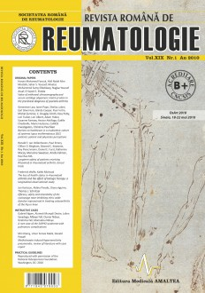 Romanian Journal of Rheumatology, Volume XIX, No. 1, 2010