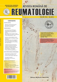 Romanian Journal of Rheumatology, Volume XX, No. 1, 2011