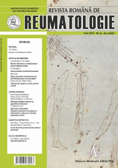 Romanian Journal of Rheumatology, Volume XVI, No. 2, 2007