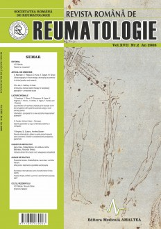 Romanian Journal of Rheumatology, Volume XVII, No. 2, 2008