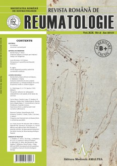 Romanian Journal of Rheumatology, Volume XIX, No. 2, 2010