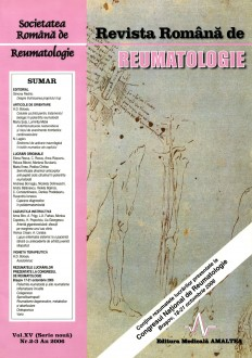 Romanian Journal of Rheumatology, Volume XV, No. 2-3, 2006