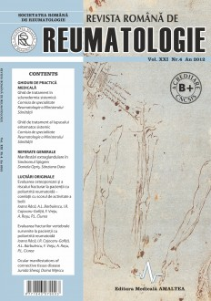 Romanian Journal of Rheumatology, Volume XXI, No. 4, 2012