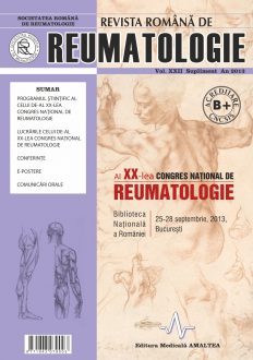 Romanian Journal of Rheumatology, Volume XXII, Supl., 2013